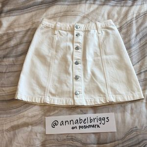 Abercrombie & Fitch white button down jean skirt